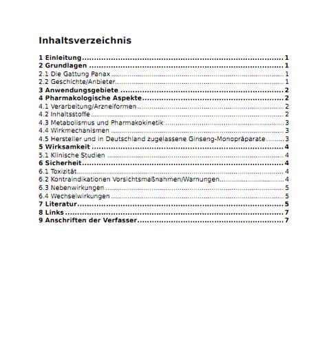 Automatisch generiertes Inhaltsverzeichnis einer Leitlinie im PDF